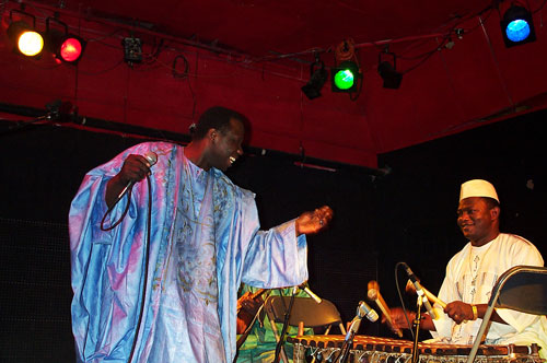 "Abdoulaye ""Djoss"" Diabaté with Famoro Dioubate at Cat's Cradle in North Carolina - Photo by Angel Romero"