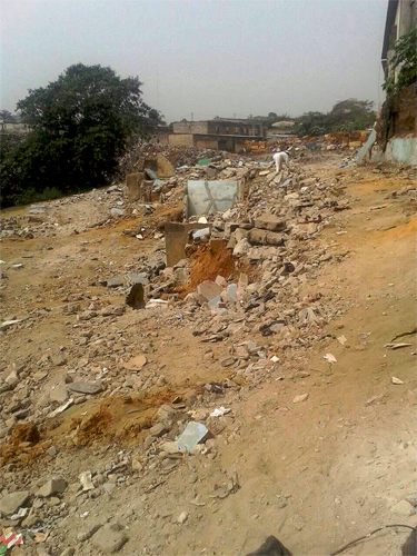 Dembele home and music center in Abobo after the demolition