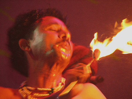 The Dhoad Gypsies of Rajasthan fire breathing - Photo by Angel Romero