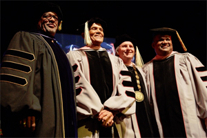 left to right: Berklee Provost Larry Simpson, Harry Belafonte, President Roger H. Brown, Professor Larry Watson. Photo by Kelly Davidson.