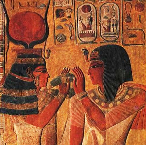 Depiction of Hathor (left)