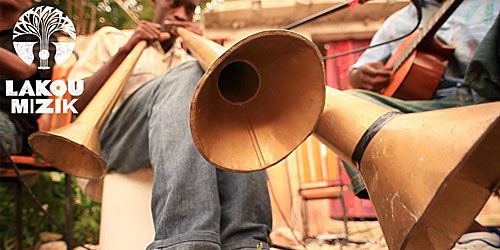 Lakou Mizik playing rara horns