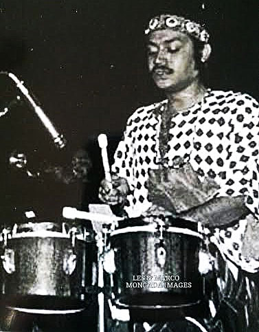 Pablito Rosario on the pailitas (small timbales) in 1973.