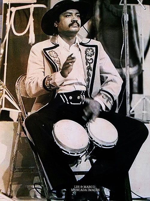 Pablito Rosario on the bongos in 1977