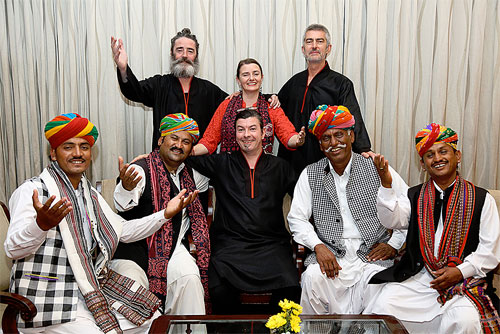 Shooglenifty in Rajasthan (Oct 2014), James (middle), with Kaela, Angus, Malcolm and musicians from Rajasthan