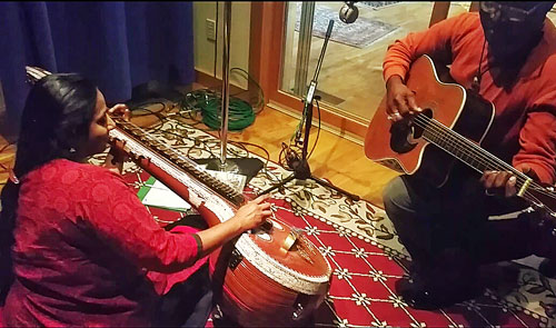 Nirmala and Siama recording an album in 2015