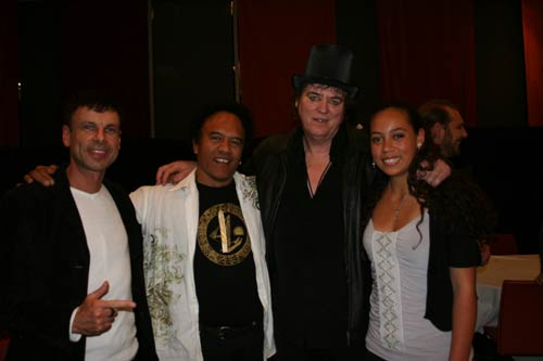 Te Vaka's Malcolm, Opetaia and Olivia with the legendary Australian  rock musician Doc Neeson from the Angels