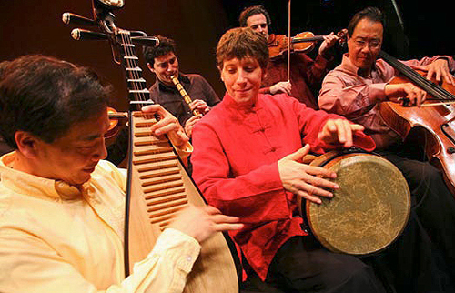 Standing: Kojiro Umezaki (shakuhachi), Colin Jacobsen (violin); seated: Yang Wei (pipa), Shane Shanahan (percussion), Yo-Yo Ma (cello).  Photo by David O'Connor