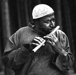 Yusef Lateef playing the bamboo flute