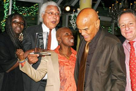 Afropop Board member Magatte Wade, Afropop host Georges Collinet,  Angelique Kidjo, Harry Belafonte, Afropop Board Chair Josh Mailman