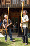 Dušan Holik and Bob Rychlik playing fujara at the Maryland Fujara Workshop, June 10, 2006. Photo courtesy of Bob Rychlik.
