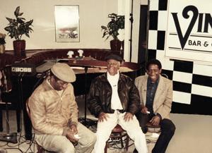 Francisco Aguabella, Armando Peraza and Mongo Santamaria - Photo by Gary Eisenberg