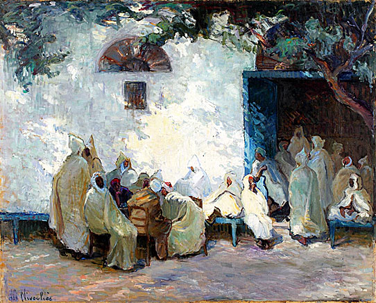 "Marie-Anne Nivoulies de Pierrefort (1879-1968), ""Gathering at the Cafe in a Tunisian Village"", Oil on Canvas, 162 x 130 cm, Courtesy La Marsa Gallery"