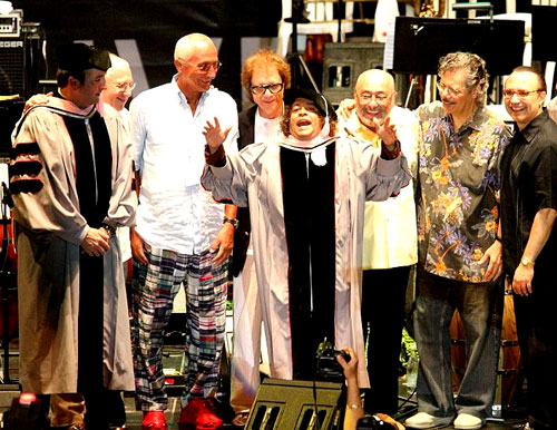 From left: Luis Alvarez, ;executive producer of the Puerto Rico  Heineken JazzFest; former Berklee president Lee Berk; Carlo Pagnotta, Umbria  Jazz Founder; bassist Giovanni Tommaso; Giovanni Hidalgo; pianists Eddie  Palmieri, Chick Corea, and Michel Camilo.