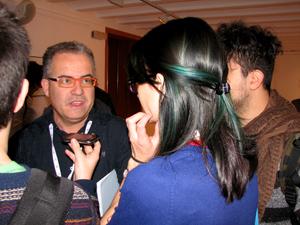 Fira Mediterrania de Manresa general manager Jordi Bertran interviewed by Italian bloggers Annachiara Casimo and Andrea Russo Photo by Angel Romero