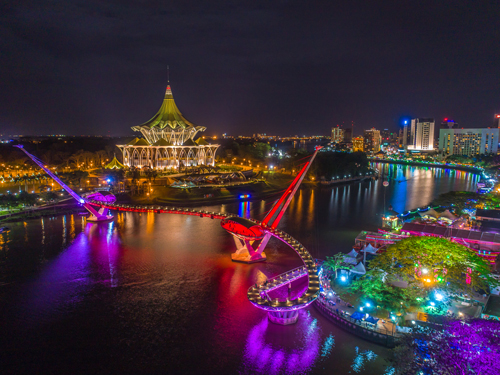 This image has an empty alt attribute; its file name is Kuching_waterfront_night.jpg