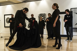 The Morente-Carbonell family performing during the exhibition La Aurora de Morente (Javier Conde and Estrella Morente in the foreground). Photo by Manuel Rodríguez