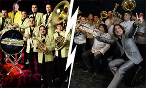 Banda Estrellas de Sinaloa de Germán Lizárraga (left) Boban & Marko Markovic Orkestar (right)