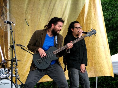 """Locos Por Juana's bassist Guillermo Cabral """"El Chamo"""" in Durham, North Carolina, 2009 - Photo by Angel Romero"""