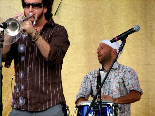"Locos Por Juana's trumpeter Emiliano Torres ""Che Funk"" in Durham, North Carolina, 2009 - Photo by Angel Romero"