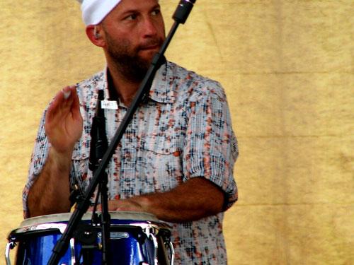 Locos Por Juana's percussionist Alan Reyna  in Durham, North Carolina, 2009 - Photo by Angel Romero