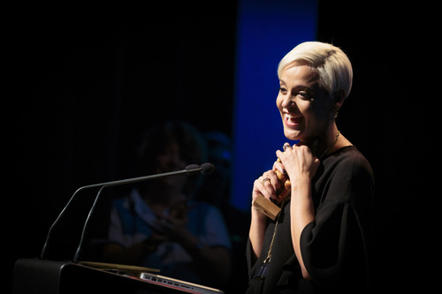 WOMEX 2014 Artist Award winner Mariza at the Award Ceremony - Photo by Jacob Crawfurd
