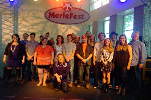 MerleFest 2016 honoring the winners of the 24th Annual Chris Austin Songwriting Contest. The finalists are pictured with Jim Lauderdale and the judges of the contest. Photo by Jim Thompson