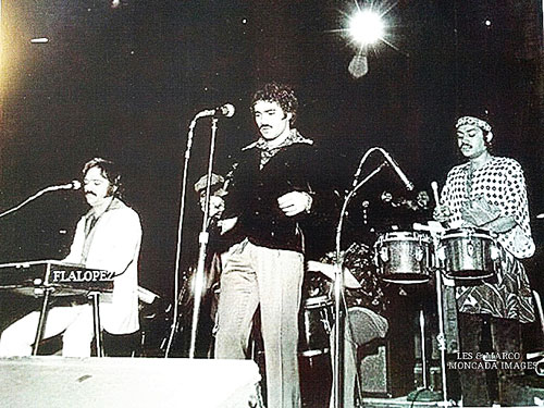 "Pablito Rosario Live at Madison Square Garden in 1973 with Larry Harlow; Eddie Gua-Gua Rivera on bass; Junior Gonzalez on vocals; , Tony Jimenez on conga; Larry Spencer on trumpet, and Pablito on pailitas. ""This was the very first Salsa Festival and we were the first group to play. What an honor!"""