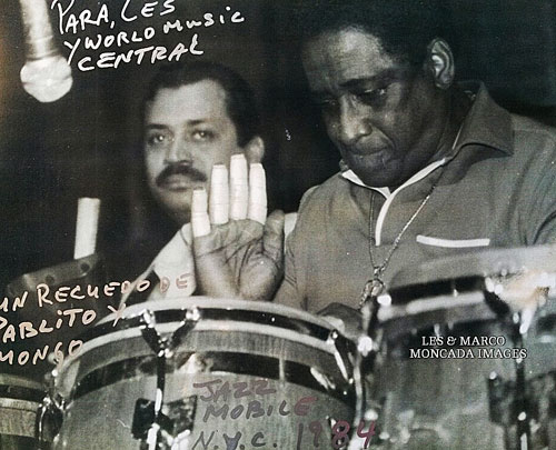 Pablito Rosario performing with Mongo Santamaria at Jazzmobile in New York City, 1984