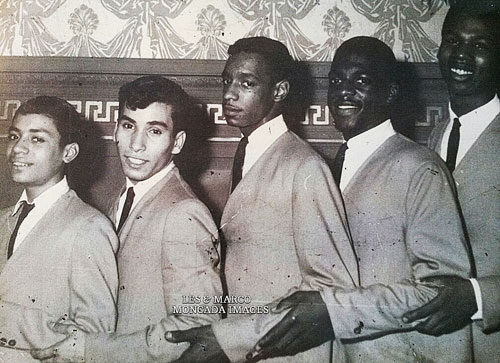 "The Mellow Tones at Hotel Bossart in Brooklyn, New York, 1962. Pablito Rosario, Ray Echevarria, John Zervos, James Mingo and Peter Ward. ""We had a full house."""