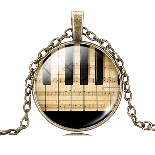 Jiayiqi Jewelry Women Fashion Piano Keyboard Picture Pendant