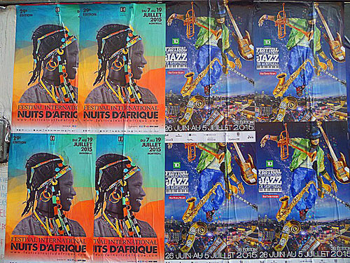 Posters of jazz and African music festivals