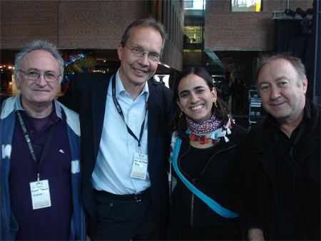 Albert Reguant (WMCE member in Catalonia), Johannes Theurer (Radio Berlin, founder and head of WMCE), singer Marta Gomez, and Drago Vovk (WMCE member National Radio of Slovenia).