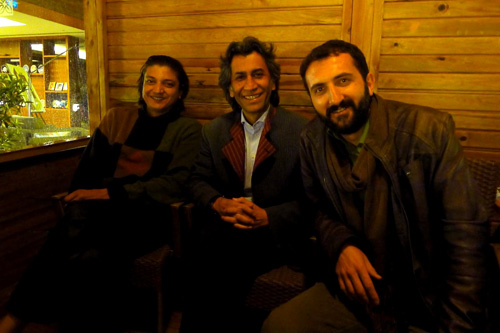 Late Night Tea Garden Poets, Atish Mukhopadhyay, Mirwaiss Sidiqi, Feridun Gundes — Photo by Evangeline Kim