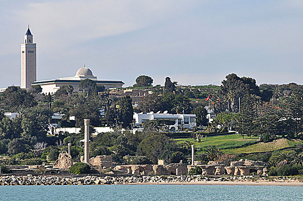 Foreground: UNESCO World Heritage Site, Antonine Thermal Baths, Proximity Presidential Palace, Carthage-Tunis, Photo by Rim Temimi