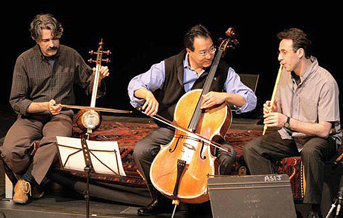 Kayhan Kalhor (kamancheh), Yo-Yo Ma (cello) and Siamak Jahangiry (ney) at the American School in Japan in 2008. Courtesy of American Express