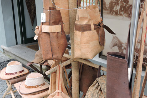 Bags and hats made out of cork - Photo by Angel Romero